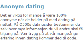 Anonym dating